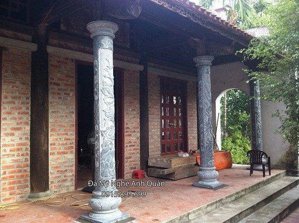 Chân tảng đá, cột tròn đá nhà thờ họ, ở đình, ở chùa