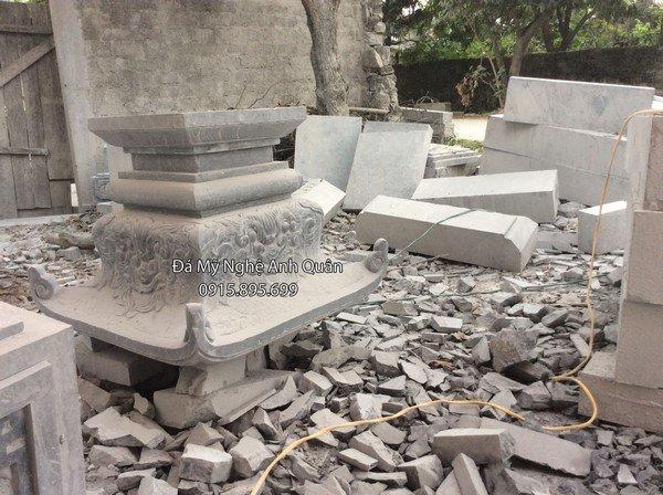 Tảng cột đá đồng trụ đá nhà thờ họ, ở đình, ở chùa