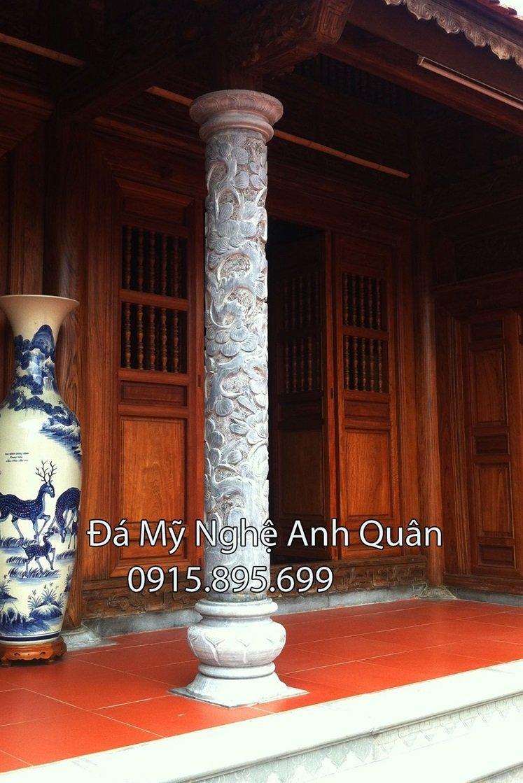Cột trụ đá, mẫu cột trụ đá đẹp tại Ninh Bình, đây là cột trụ đá tròn làm ở Nhà thờ gỗ