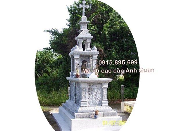 Mộ đá công giáo đẹp, mẫu mộ công giáo đá 3 mái tại Ninh Bình. Đây là mộ đá công giáo khá phổ biến, được người dùng lựa chọn khá nhiều