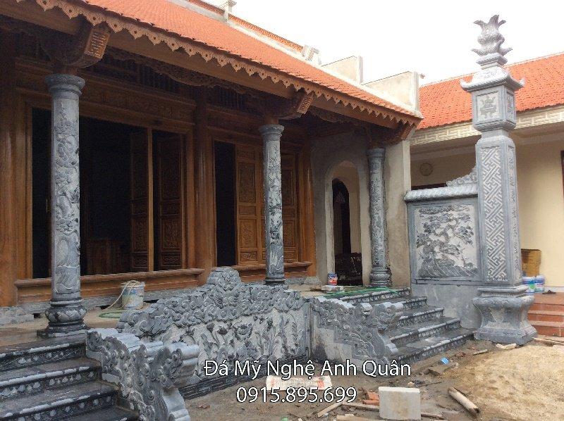 Lắp đặt cột đồng trụ đá , cột đá