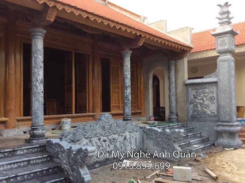 Cột tròn đá, mẫu cột tròn đá đẹp dùng để làm nhà thờ họ, đình, chùa, miếu, điện thờ