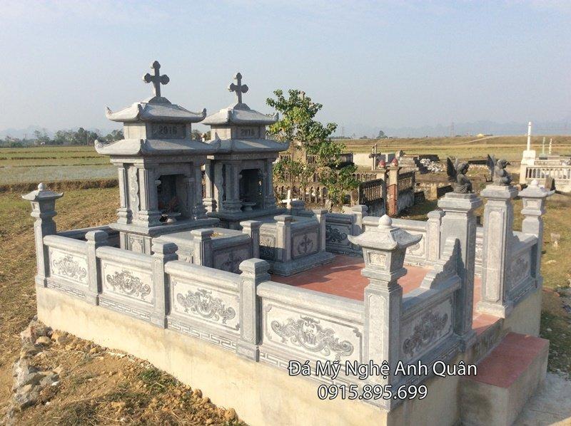 Khu lăng mộ đá công giáo đẹp do Đá mỹ nghệ Anh Quân thiết kế, chế tác, lắp đặt cho khách hàng