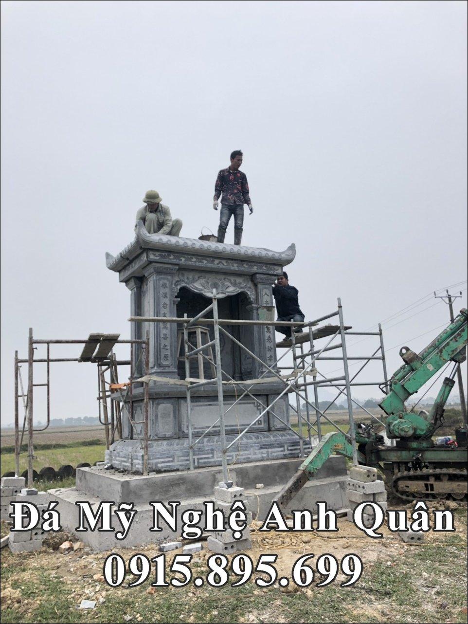 Lắp đặt Lăng thờ đá đẹp cho dòng họ Nguyễn Trần