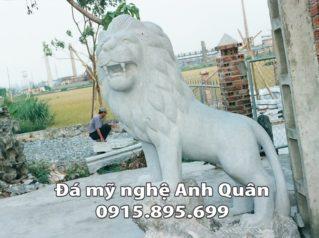 Sư tử đá trắng tự nhiên nguyên khối đẹp