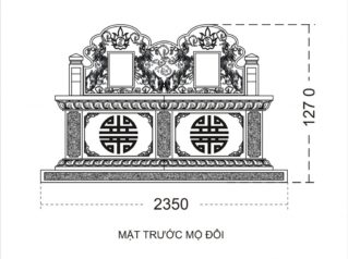 Mẫu bản thiết kế Mộ đá đôi Tam Sơn đẹp – Mộ đá Anh Quân