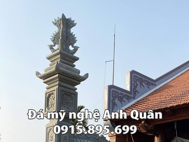 Chi tiết hoa văn Cột lửa của Cột đồng trụ đá Nhà thờ họ Bác Phẩm - Nam Định do Đá mỹ nghệ Anh Quân chế tác