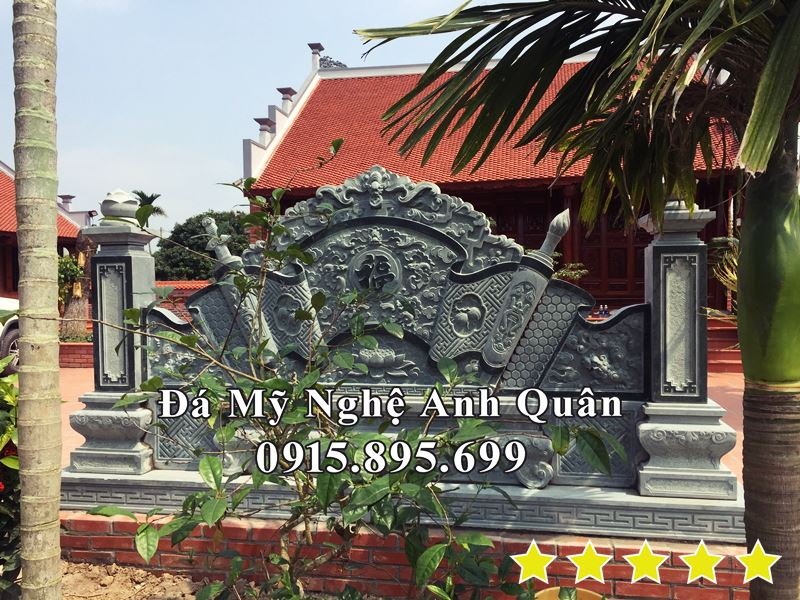 Đặt Cuốn thư đá - Tác Môn Đá cho Nhà thờ tổ tại Thái Bình bằng đá xanh rêu nguyên khối.
