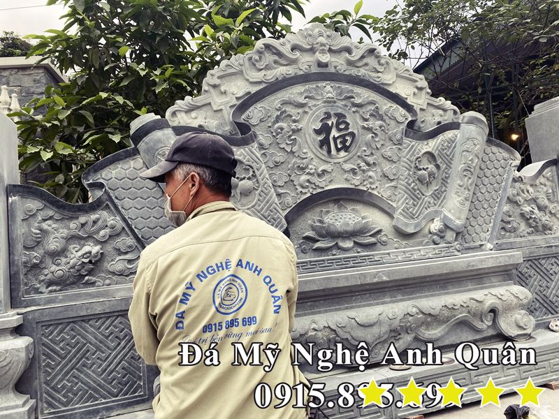 Mau Binh Phong Da Xanh reu dang Cot