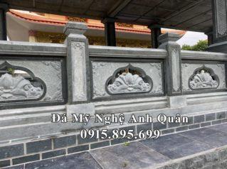 Mẫu Lan Can đá Hoa SEN thông phong cao cấp cho Khu Lăng Mộ Đá xanh rêu tại Đồng Nai