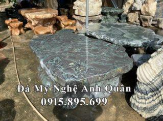 Mẫu Bàn ghế đá tự nhiên đẹp cho Nhà hàng, Khách sạn, Biệt thự (mầu xanh ngọc)