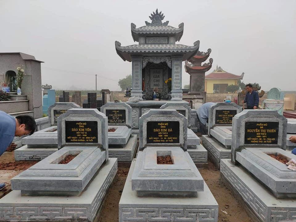 Xây Lăng mộ đá xanh hai mái đẹp – Mộ đá cao cấp Ninh Bình