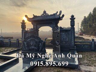 Mẫu Cuốn thư đá xanh rêu (Bình phong đá) cho Khu Lăng mộ đẹp tại Ý Yên, Nam Định