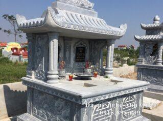 Xây Mộ đá đôi một mái đẹp cho Ông Bà của Anh Huy tại Hà Nam