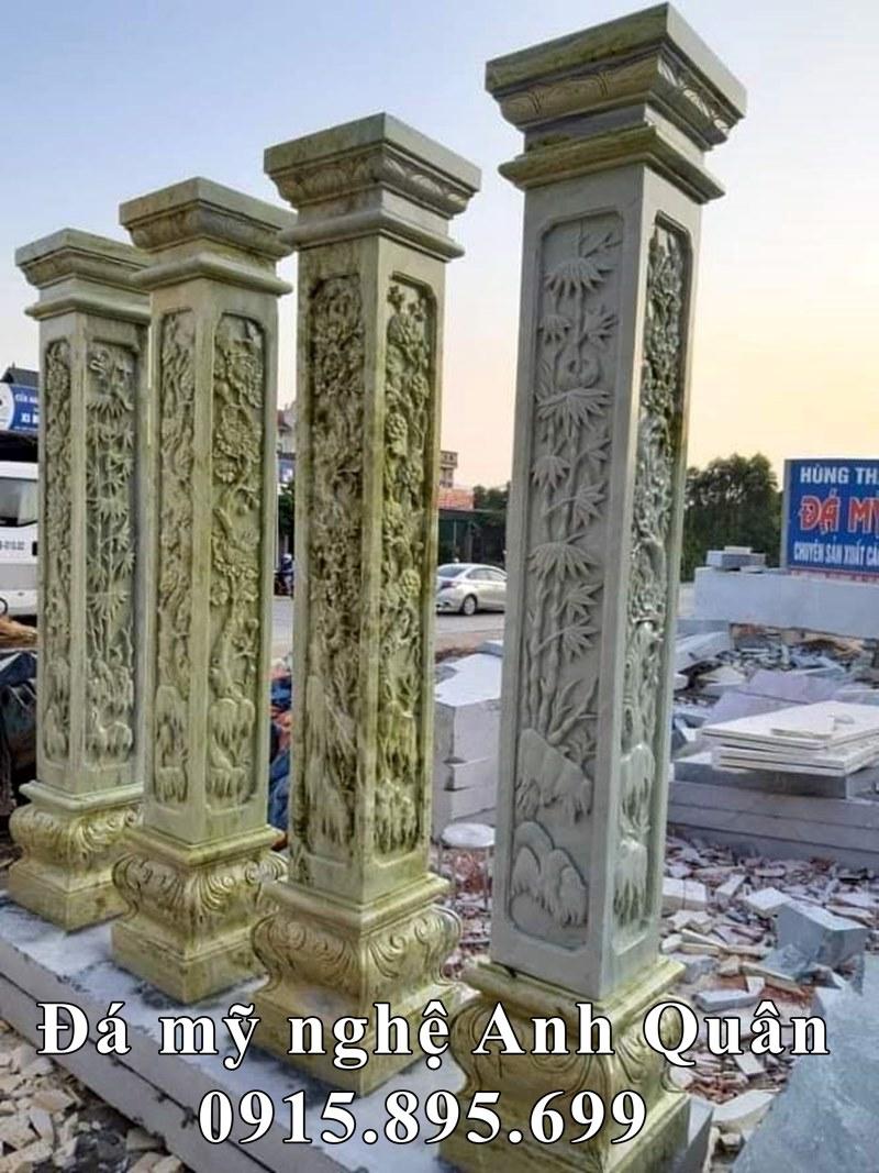 Mẫu Cột đá cao cấp - Mẫu Cột đá xanh ngọc Tứ quý Tùng Trúc Cúc Mai